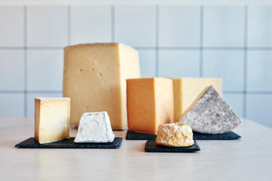 Varieties of cheese on table