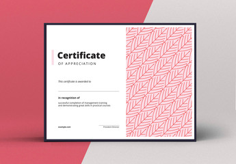 Certificate of Appreciation Layout with Red Elements