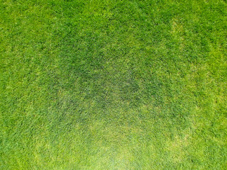 Aerial view of a large patch of freshly cut, healthy green grass. Minimalistic state of the art background. Visible strokes of the grass cut and direction lines.