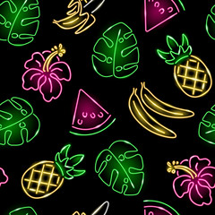 Seamless pattern with neon pineapple, banana, monstera leaf and hibiscus on black background. Exotic, summer, tropical, food concept. Vector 10 EPS illustration.