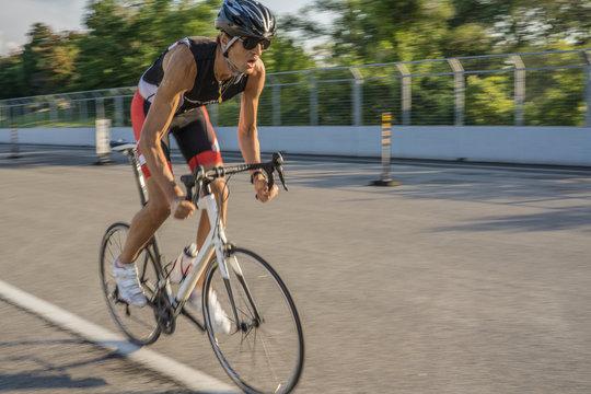 Male cyclist training for triathlon