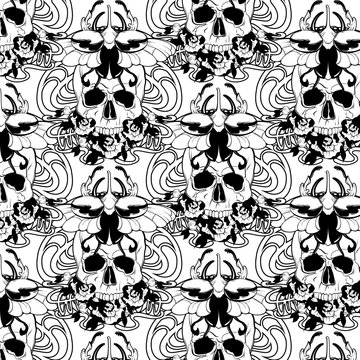 Vector pattern with hand drawn illustration of human skull, flowers and beetle .