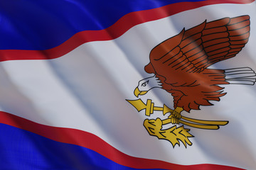 Garden Poster Eagle American Samoa flag in the wind