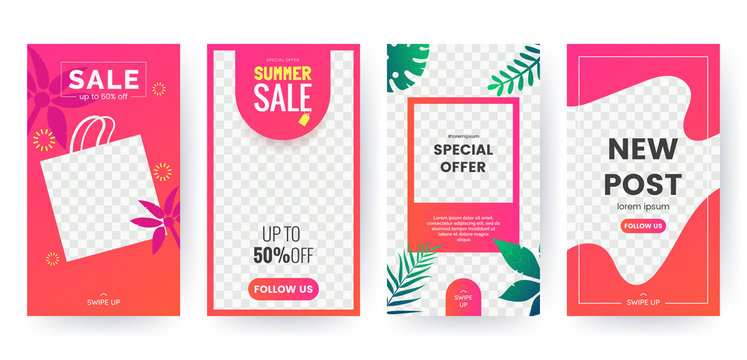 Summer stories concept for social media. Bright summer banner set with palm branch, tropical leaves. Story concept. Product catalog, discount voucher, advertising. Vector eps 10