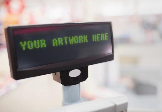 Cash Register Screen with Blur Effect Mockup