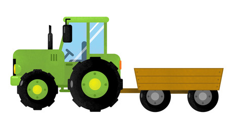 cartoon isolated farm vehicle on white background - tractor - illustration for children Wall mural