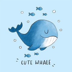 Cute Whale cartoon hand drawn style