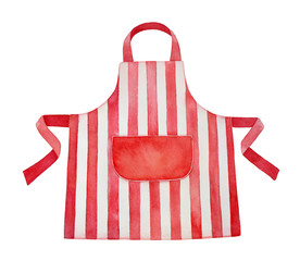 Red and white kitchen apron watercolour illustration. Front view, cozy striped pattern, big blank pocket in center. Handdrawn water color graphic paint, cutout clip art element for design decoration. - fototapety na wymiar