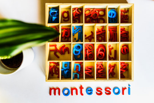 Montessori method is an educational model, word written with wooden letters.