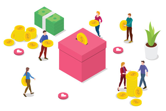 isometric people donation concept with team people bring money to give and insert to box with modern clean style - vector