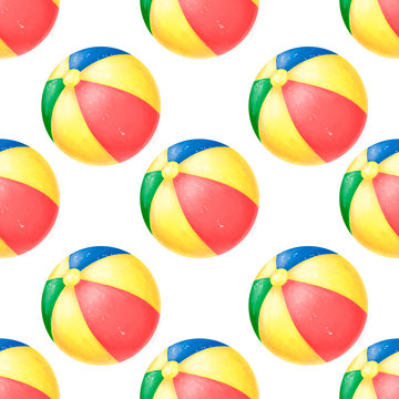 Summer watercolor beachball pattern with beach ball. Toy ball. Beach party. Pool joy. Summertime. Kids clip art. Illustration and colorfull Holiday on white background