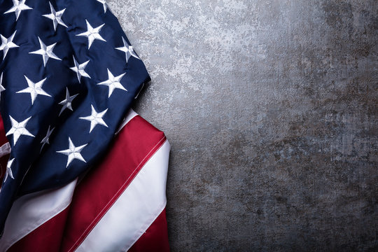 American Flag On Concrete Background