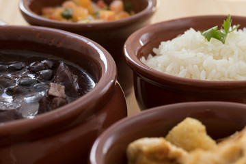 Brazilian Feijoada and side dishes
