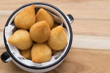 "Brazilian savory snack ""Coxinha de frango"". Brazilian ""salgadinho""."