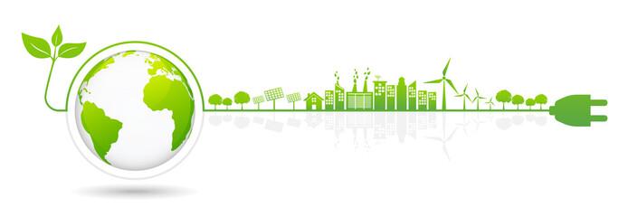 Fototapeta Banner design elements for sustainable energy development, obraz