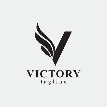 Wings V Logo - Vector logo template