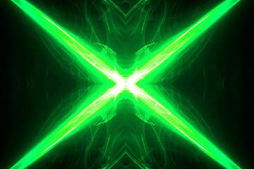 green circular wave glow. kaleidoscope lighting effect.