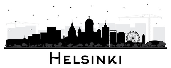 Fototapete - Helsinki Finland City Skyline Silhouette with Black Buildings Isolated on White.