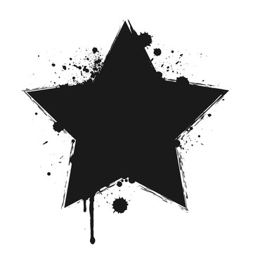 Dripping paint or black star brush stroke isolated on white background. Grunge concept, ink splatter illustration.