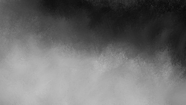 Black background with cloudy white and gray fog illustration. Elegant abstract background design with texture.
