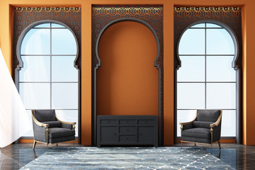 Moroccan interior space with Arabic laser cut patterns at windows and furniture. 3d rendering