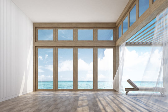 Natural style interior space and terrace with sea view 3d rendering Image. Decorate room with wood. There are large window overlooking the surrounding.