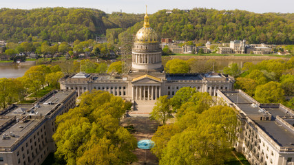 Scaffolding Surrounds the Capital Dome Supporting Workers in Charleston West Virginia Wall mural
