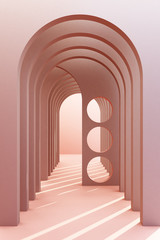 Minimalistic,pink color arch hallway architectural corridor with empty wall. 3d render, minimal.