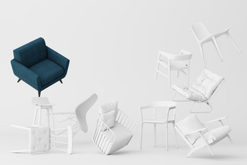 Blue armchair surrounding by white chairs in empty white background. Concept of minimalism & installation art. 3d rendering mock up