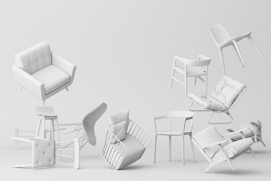 White chairs in empty white background. Concept of minimalism & installation art. 3d rendering mock up