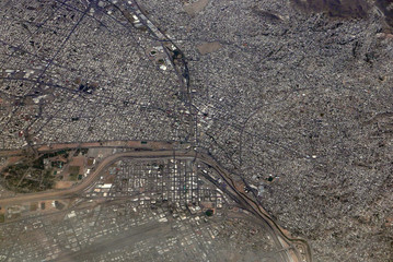 Aerial view of El Paso, Texas, and Juárez, Mexico, separated by the US-Mexican border and the Rio Grande