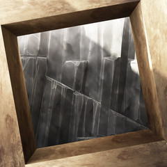 Antique steel square frame with sunlight on Rock cliff background. This empty space for present product. 3d rendering
