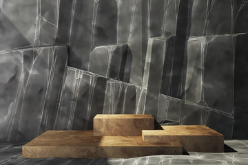 Antique stainless Product stand with rock background and floor. 3d rendering