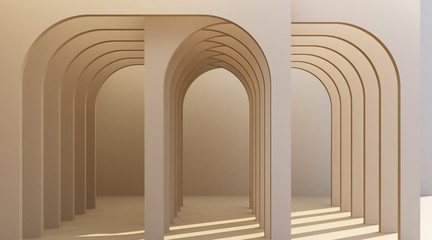 Minimalistic, brown arch hallway architectural corridor with empty wall. 3d render, minimal. Fotomurales