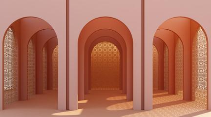 Minimalistic, orange arch hallway architectural corridor with empty wall. 3d render, minimal. Fotomurales