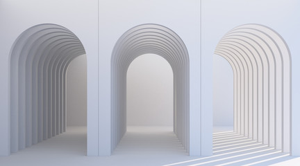 Obraz Minimalistic, white arch hallway architectural corridor with empty wall. 3d render, minimal. - fototapety do salonu