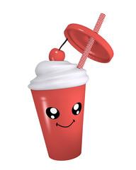 Kawaii Kirsch Milchshake mit lächelndem Gesicht. 3d rendering