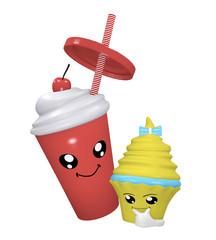 Kawaii Kirsch Milchshake mit lächelndem Gesicht und denkendem Cupcake.