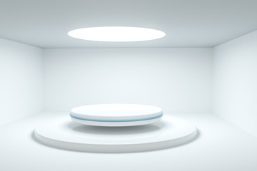 3d rendering, the round platform in the empty room. Wall mural