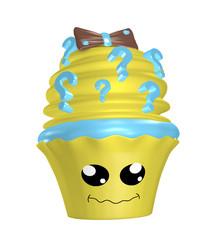 Kawaii Cupcake mit ratlosem Gesicht und Fragezeichen in der Sahnehaube. 3d rendering