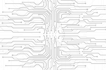 Circuit Board Technology Information Pattern Concept Vector Background. Grayscale Color Abstract PCB Trace Data Infographic Design Illustration. Wall mural