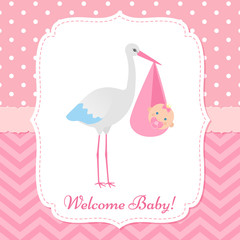 Baby Shower invitation card. Vector. Baby girl banner. Welcome template invite. Pink design. Cute birth party background. Happy greeting poster with newborn kid and stork. Cartoon flat illustration.