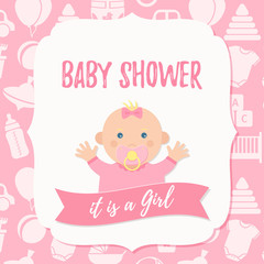 Baby Shower invite card. Vector. Baby girl design. Pink banner. Welcome template invitation Cute birth party background. Happy greeting poster. with newborn kid, polka dot. Cartoon flat illustration.