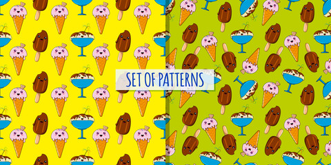 Set of kawaii ices patterns