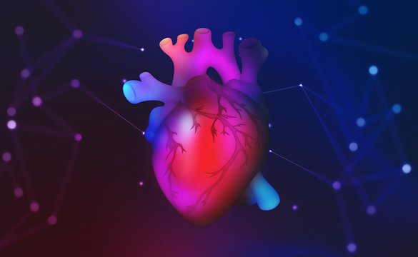 Human heart. Technology of future in medicine. Transplantology and artificial intelligence. 3D illustration of a hologram of heart in virtual space
