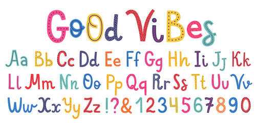 Wall Mural - Uppercase and lowcase cute alphabet font.