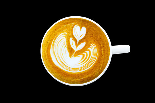 coffee latte cup isolated on background with clipping path