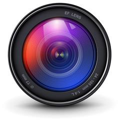 Camera photo lens 3D realistic icon