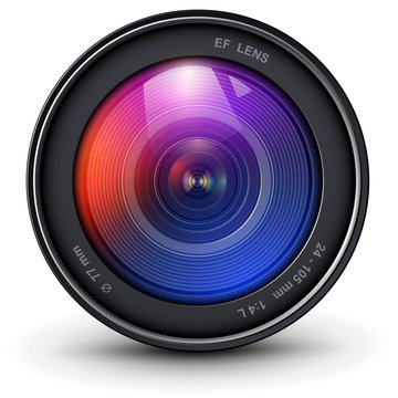 Camera photo lens 3D realistic icon