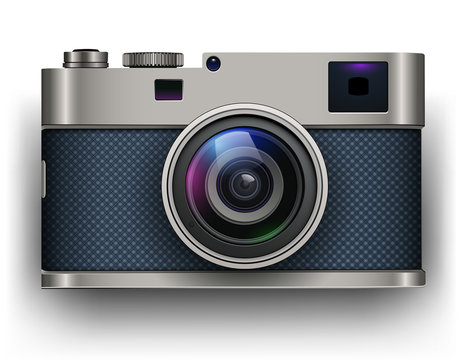 Retro photo camera 3D icon, vector illustration